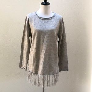 Easel Boho Fringe Sweater w/ Rolled Neck Cuffs L